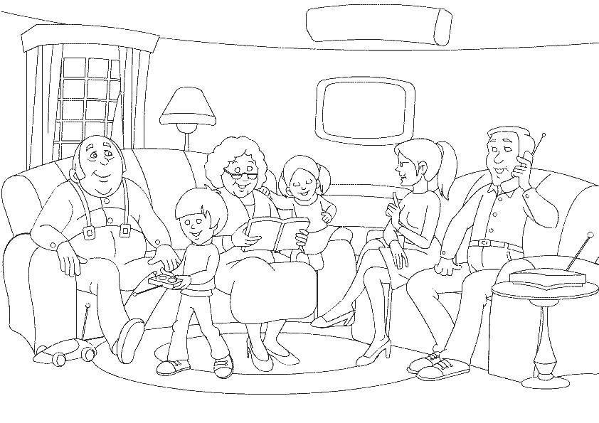 Рисунок семья раскраска распечатать