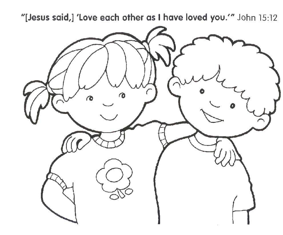 Coloring Children hugging Download Bible, children, religion.  Print ,the Bible,