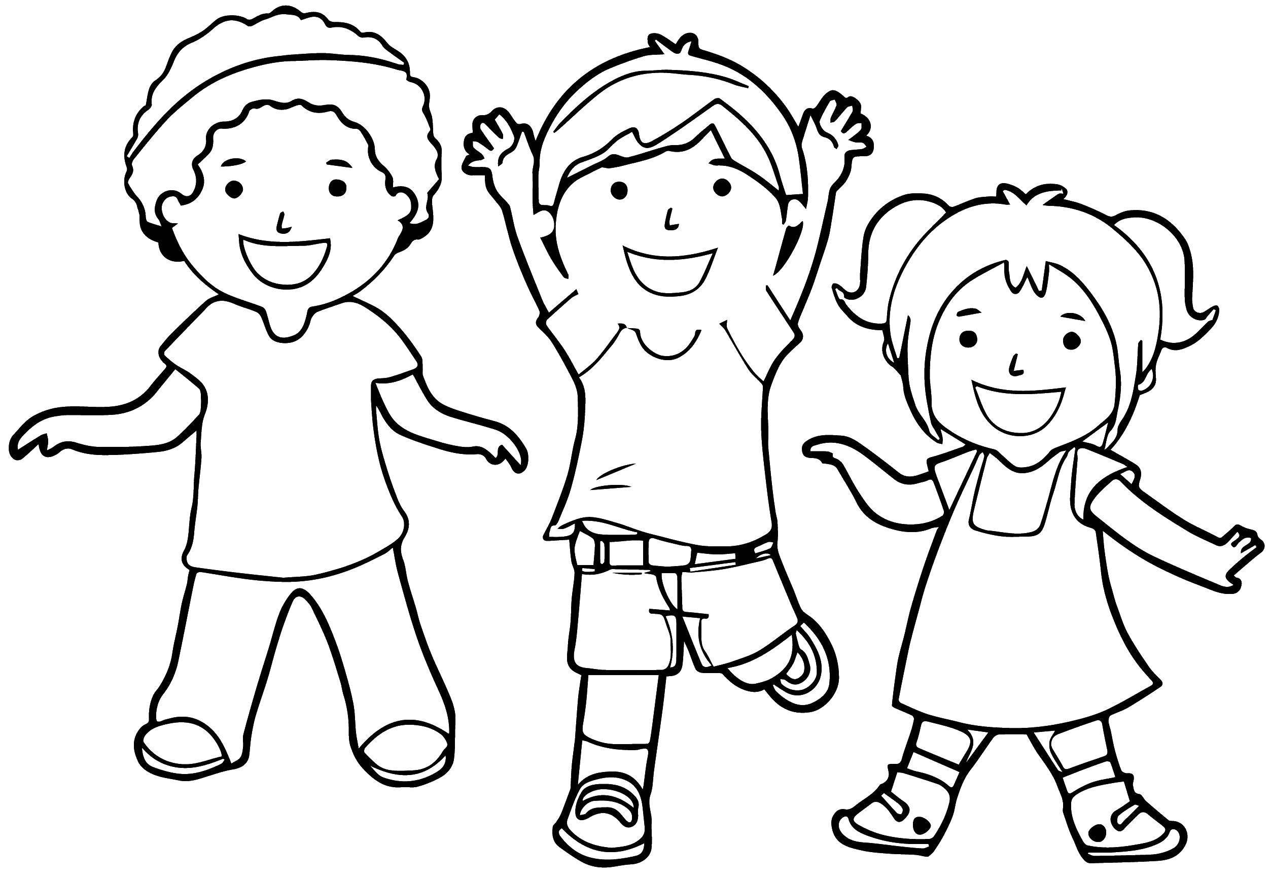 Раскраска Дети играют Скачать ,Дети, девочка, мальчик,.  Распечатать