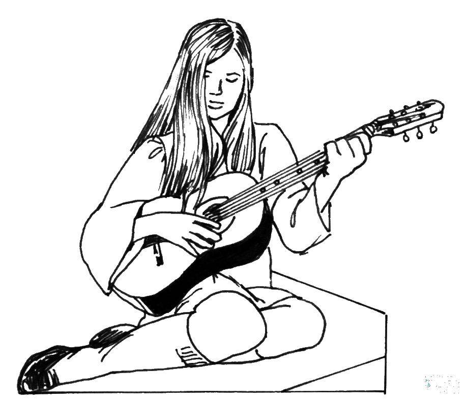 Coloring sheet guitar Download Hidden object.  Print ,Find items,