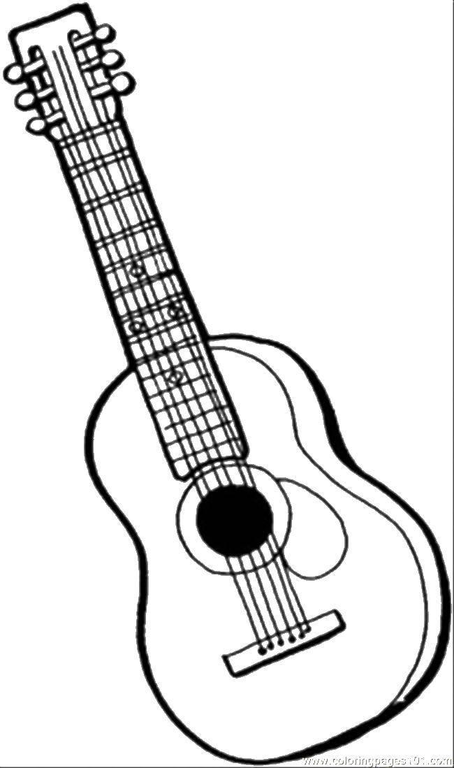 Гитара картинки раскраски