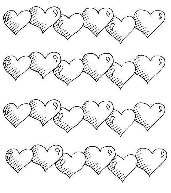 Coloring pages Hearts Скачать .  Распечатать