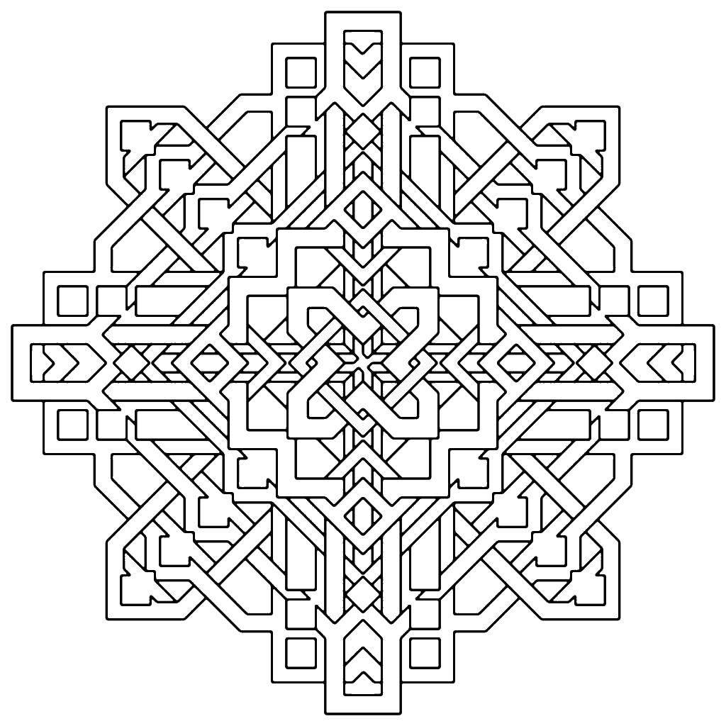 Раскраски узоры, Раскраска Геометрические узоры фигуры С ...