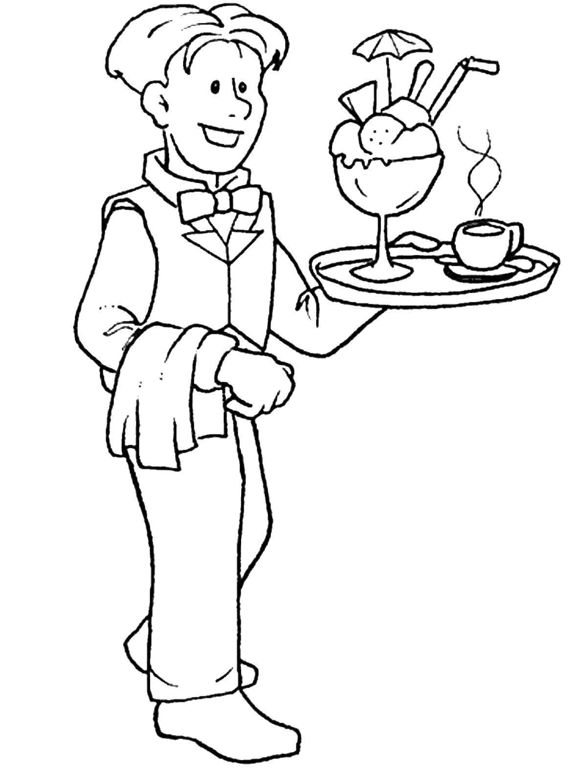 Coloring The waiter Download ,professions, waiter,.  Print