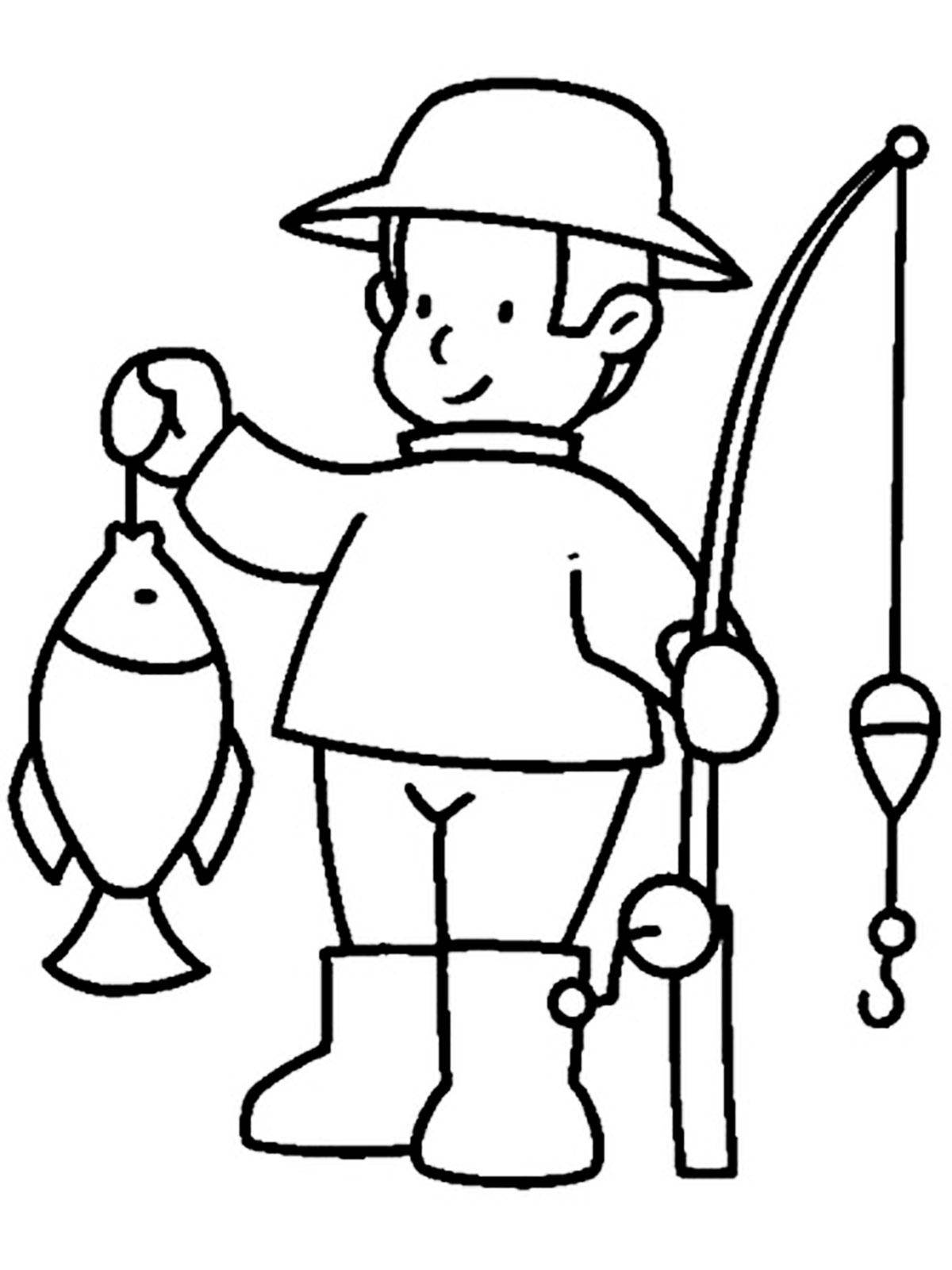 Coloring Fisherman and his catch Download Fisherman,.  Print