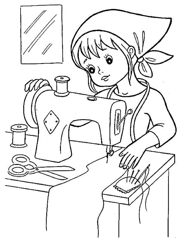 Coloring The seamstress behind the machine Download ,profession, seamstress, machine,.  Print