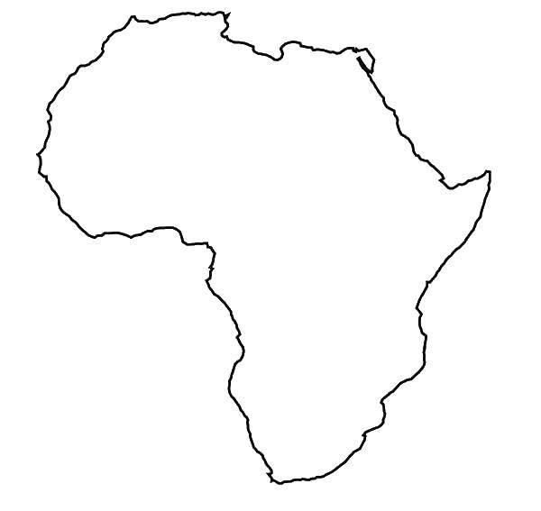 Раскраска география Скачать ,континент, Африка, карта,.  Распечатать