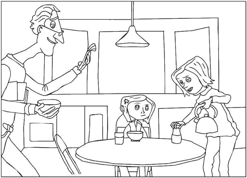 Coloring Coraline house. Category coloring. Tags:  Cartoon character.