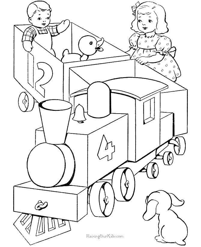 Поезд раскраска для малышей