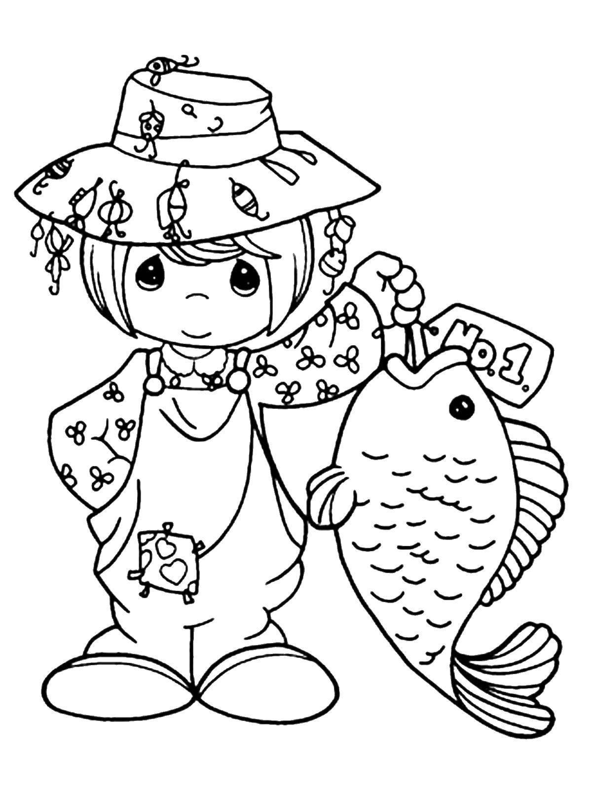 Fisherman With Mermaid Coloring Page Vector Barbie Fairytopia ... | 1600x1200