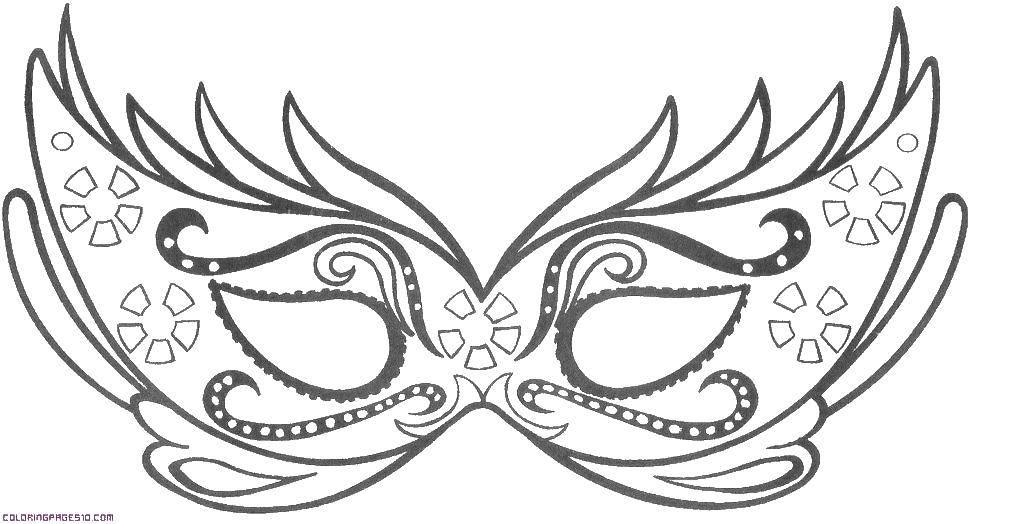Раскраска Маски Скачать ,маска, маскарадная маска,.  Распечатать
