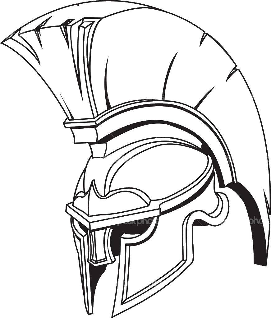 Coloring Helmet Gladiator. Category coloring. Tags:  gladiators, ancient Rome helmet.