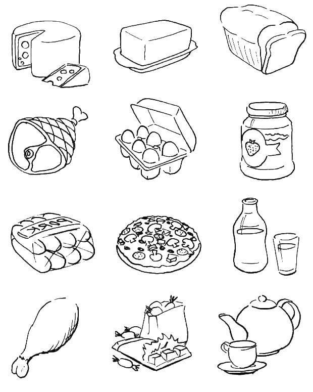 Раскраска Еда Скачать Поиск предметов.  Распечатать ,Найди предметы,