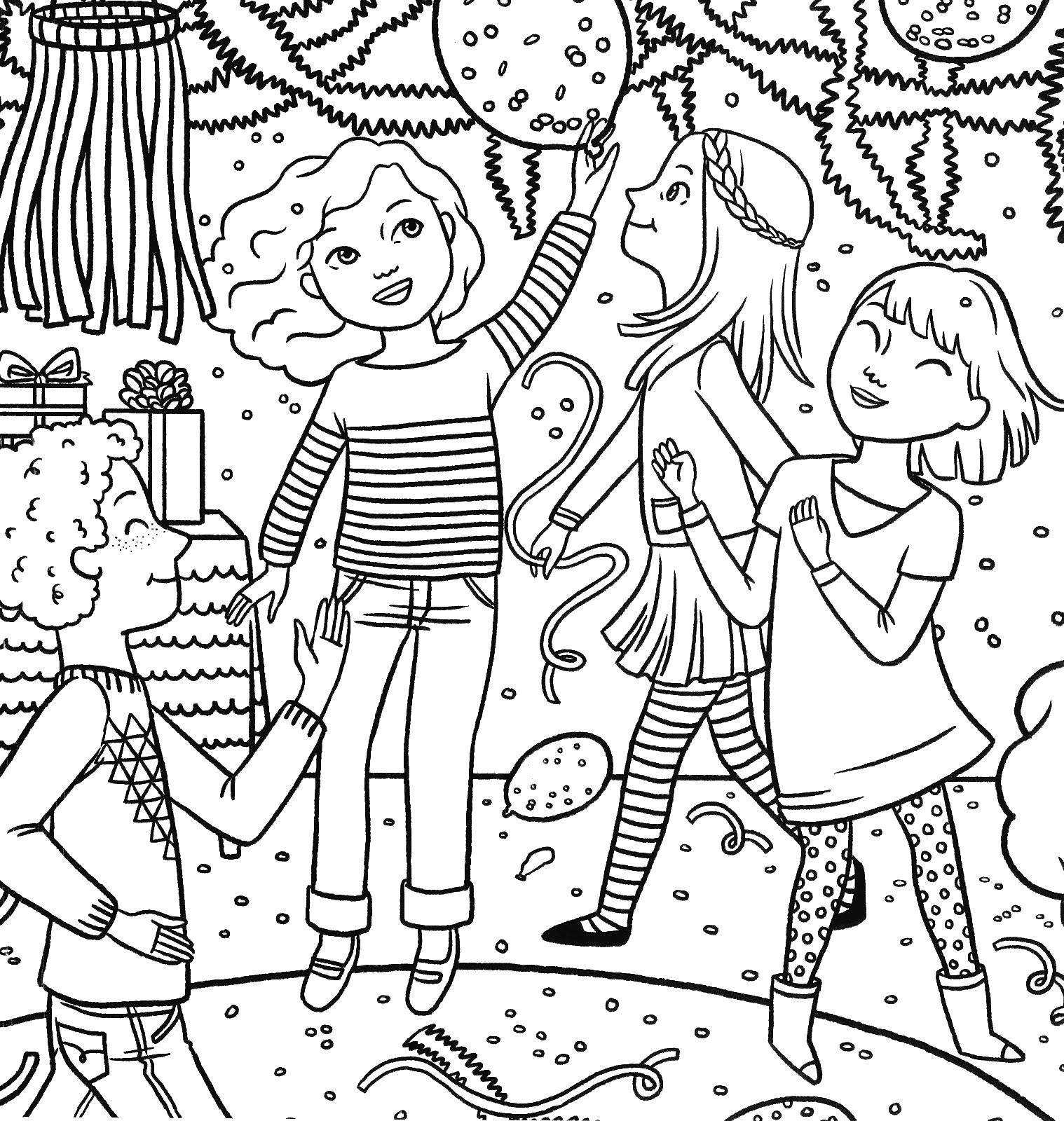 Coloring Dancing party Download ,holiday,.  Print