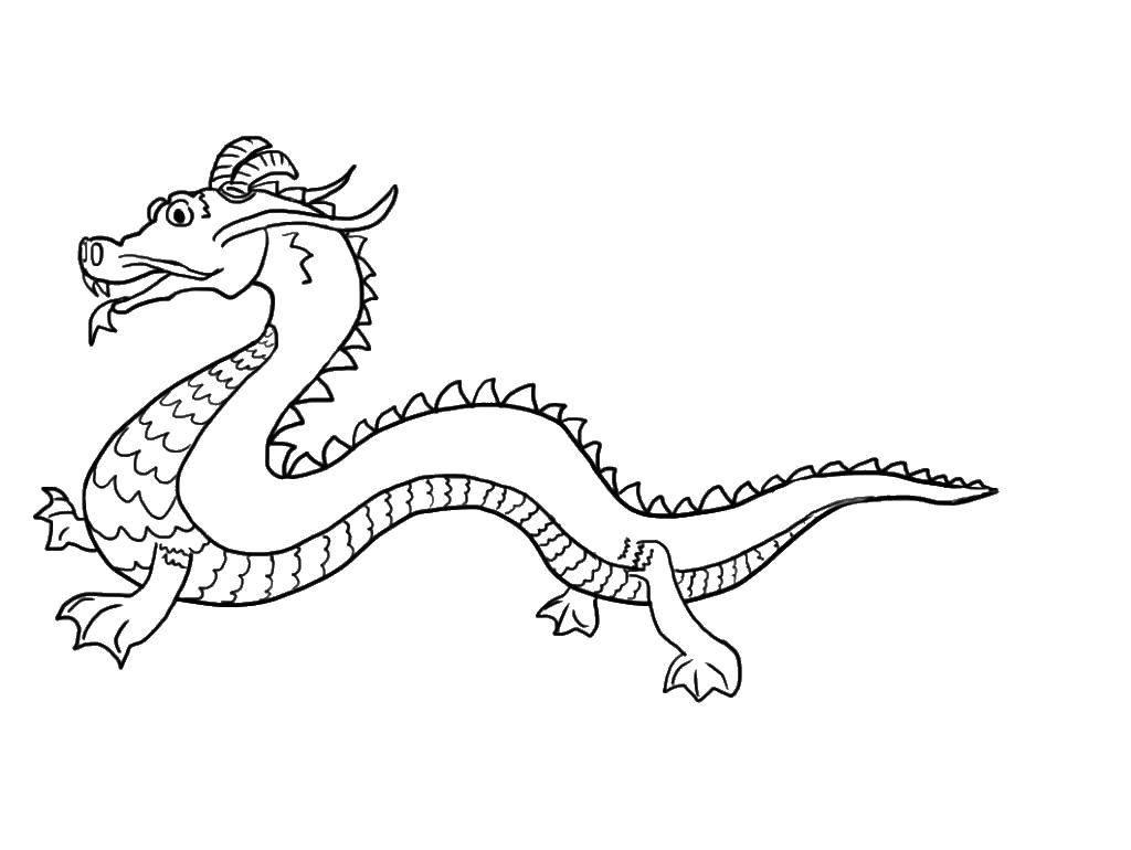 Раскраска китайские драконы