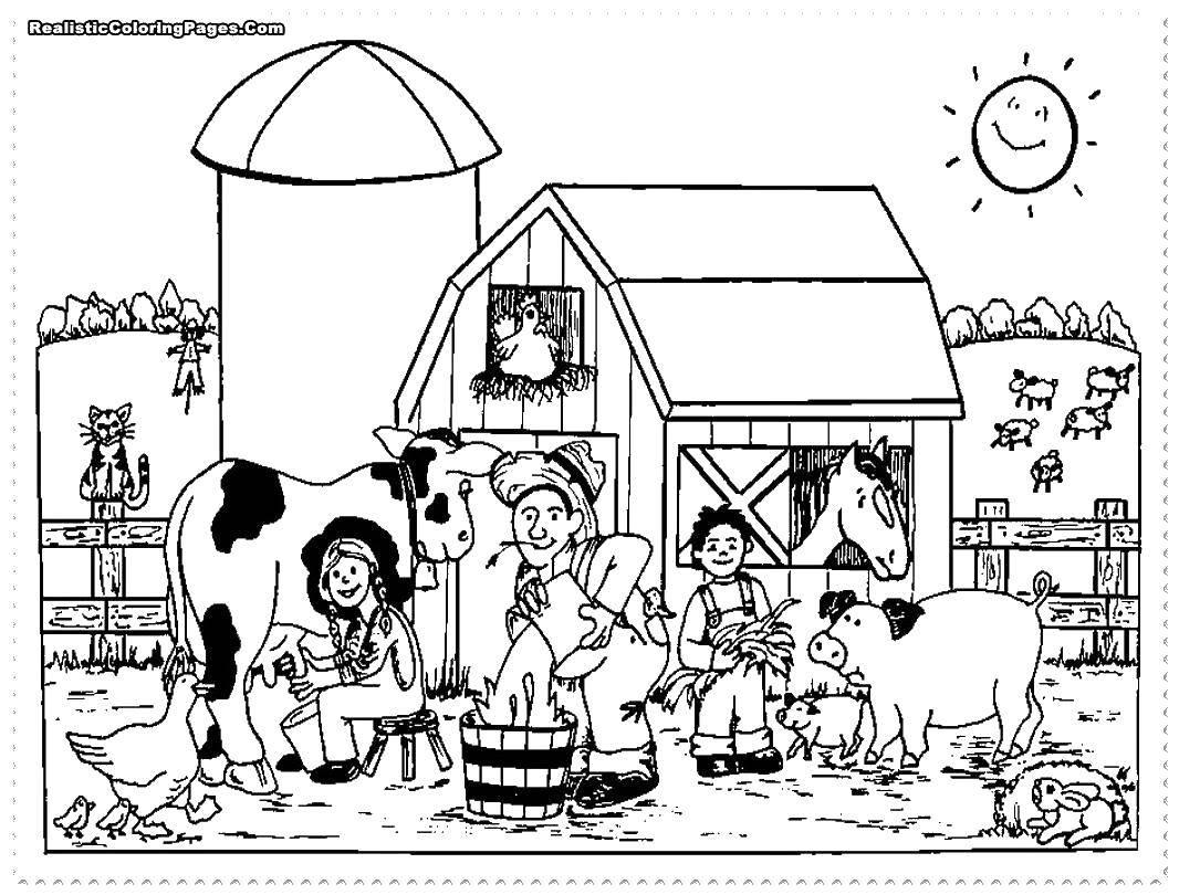 Coloring pages farm Скачать .  Распечатать