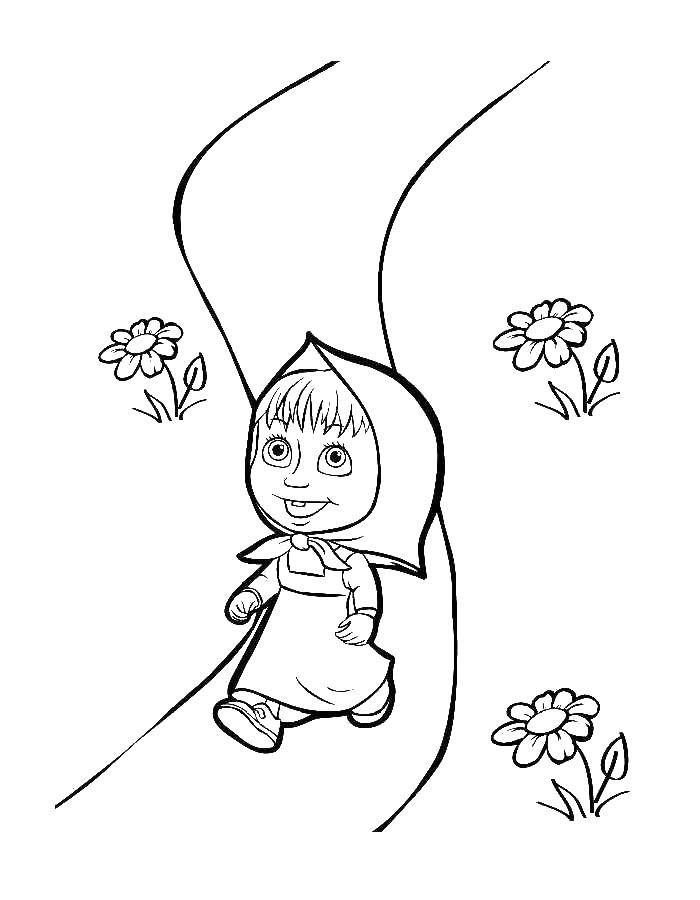 Coloring sheet Masha and the bear Download Nature, forest, mountains, river.  Print ,Nature,