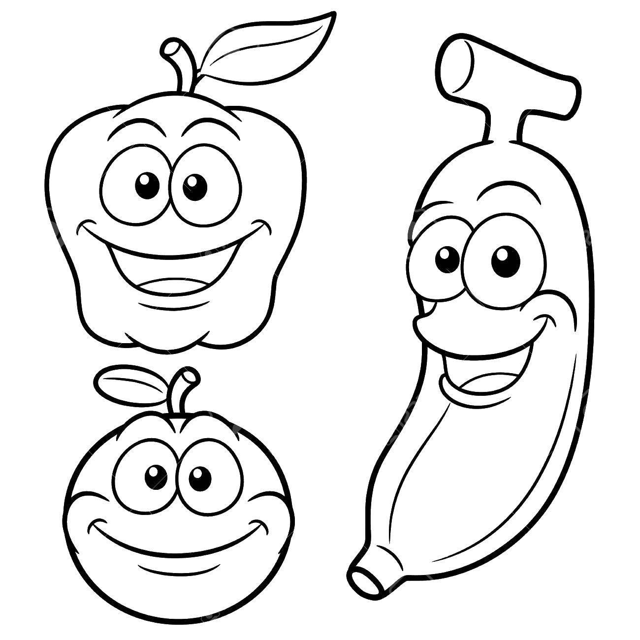 Раскраски полезные, Раскраска Полезные фрукты фрукты.