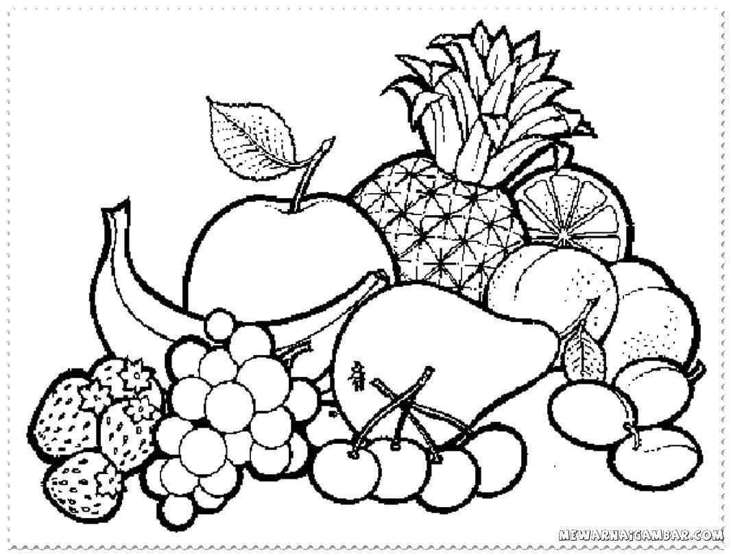 Раскраска фрукты Скачать ,фрукты ягоды, еда,,.  Распечатать