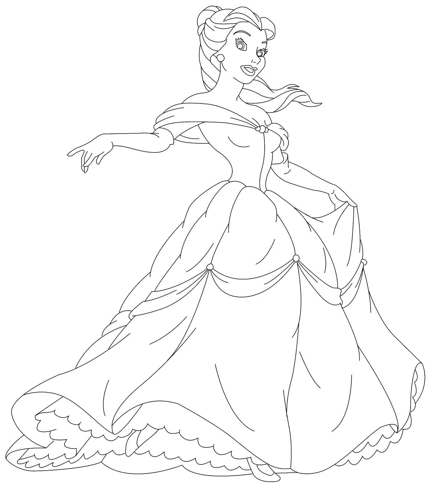 Раскраски принцесса, Раскраска Принцесса в бальном платье ...