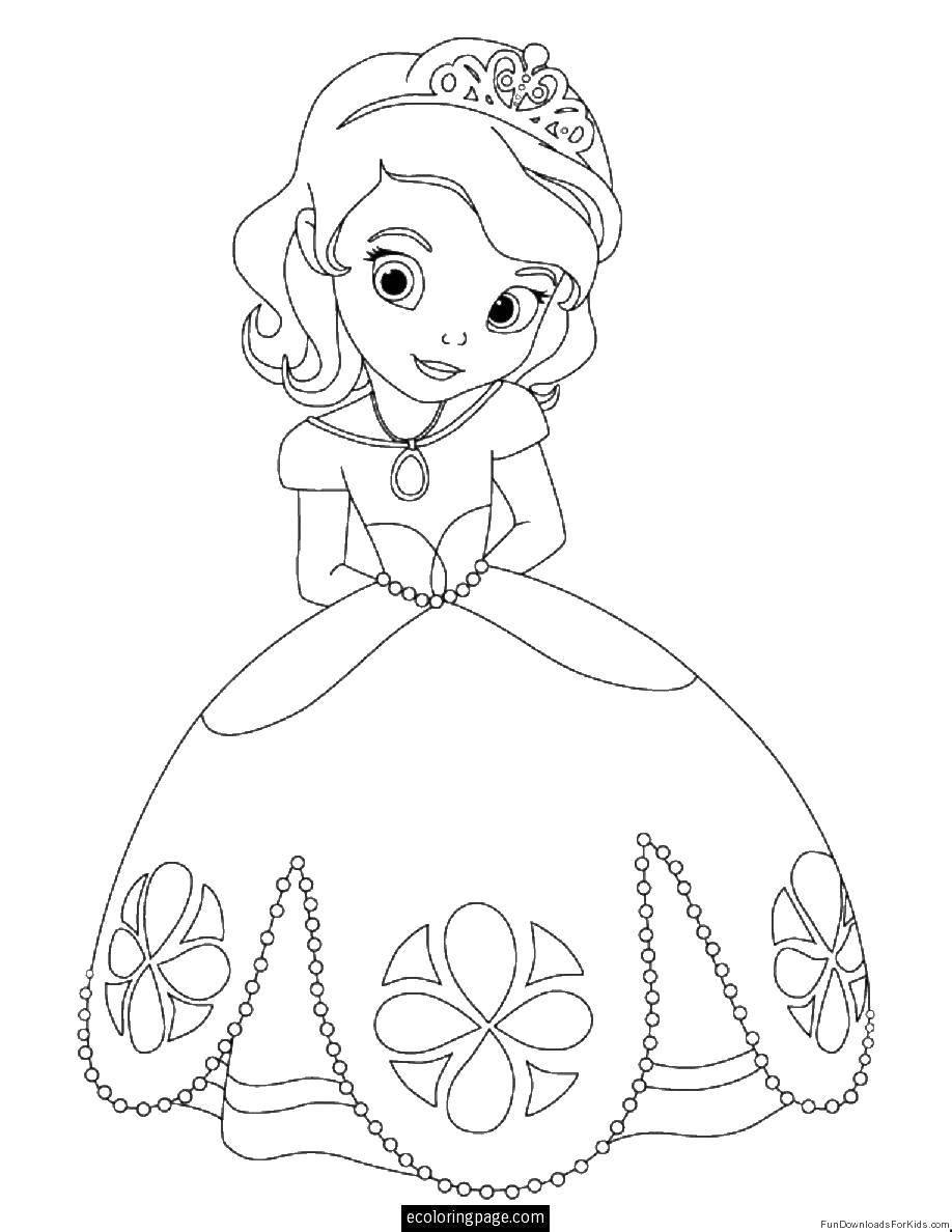 Раскраски красивом, Раскраска Принцесса в красивом платье ...