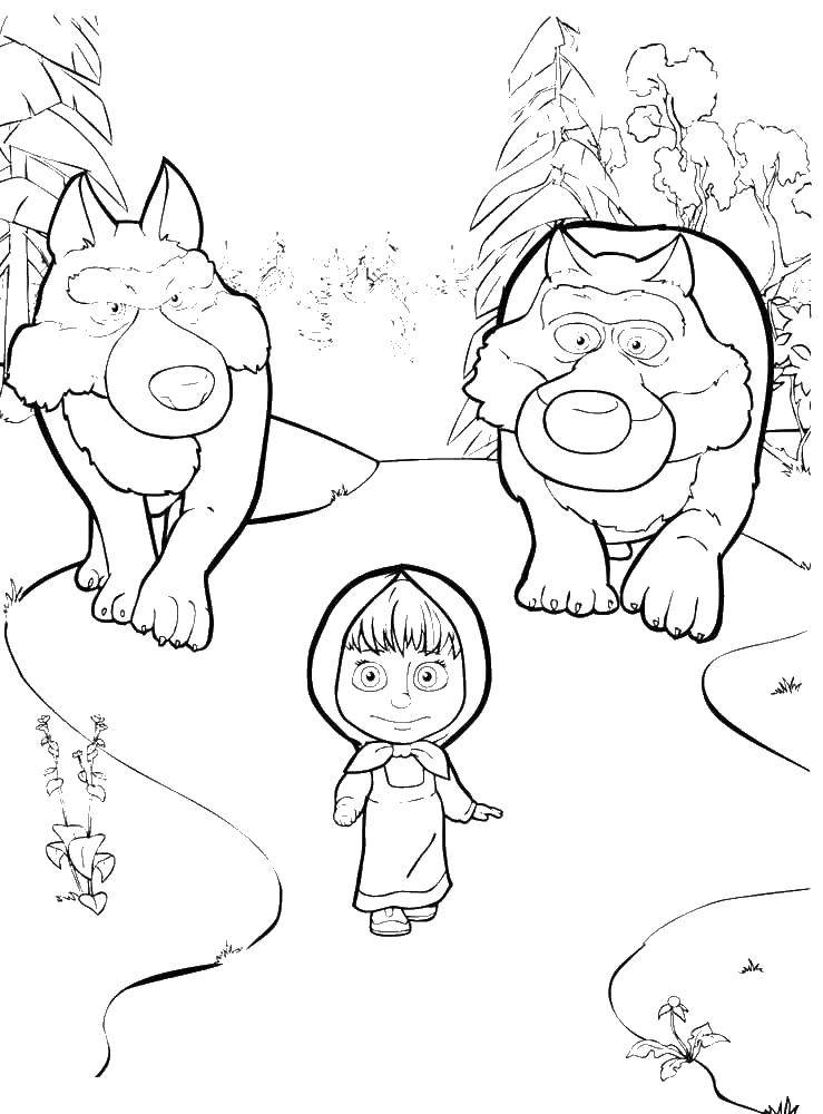 Online Coloring Pages Coloring Page The Wolves Are Coming For Masha Masha  And The Bear, Coloring Pages For Kids.