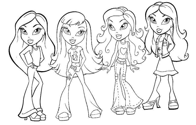 Coloring 4 Bratz dolls Download for girls, dolls, Bratz,.  Print
