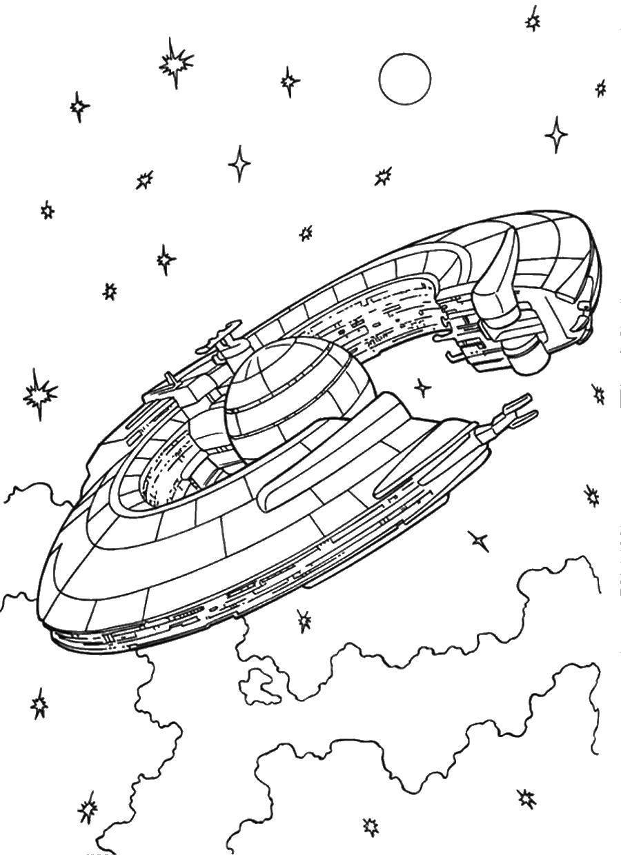 Раскраски комета, Раскраска Звезды и комета Космос.