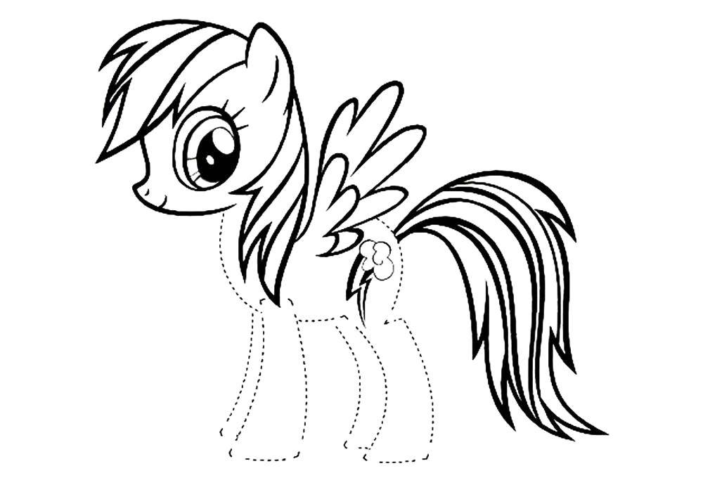Coloring Trace the outline and paint the pony Download Pony, My little pony ,.  Print