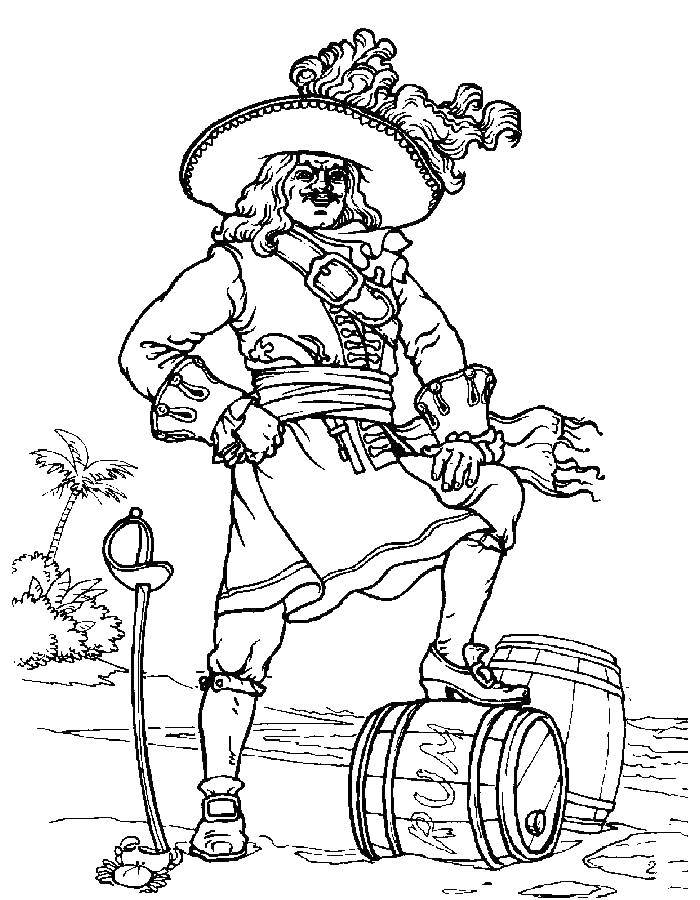 Coloring Pirate with barrel of rum Download Pirate, chef,.  Print