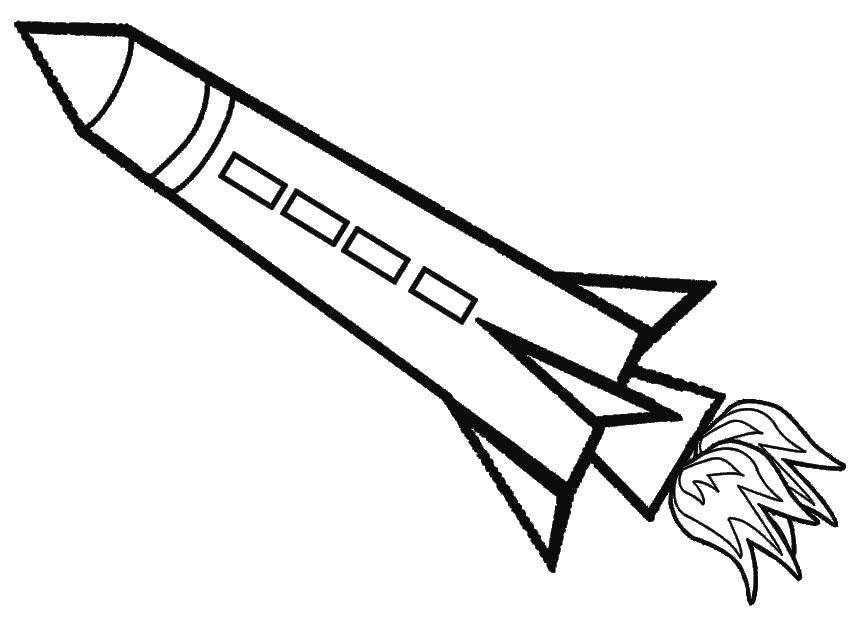 Черно-белые картинки для распечатки ракеты