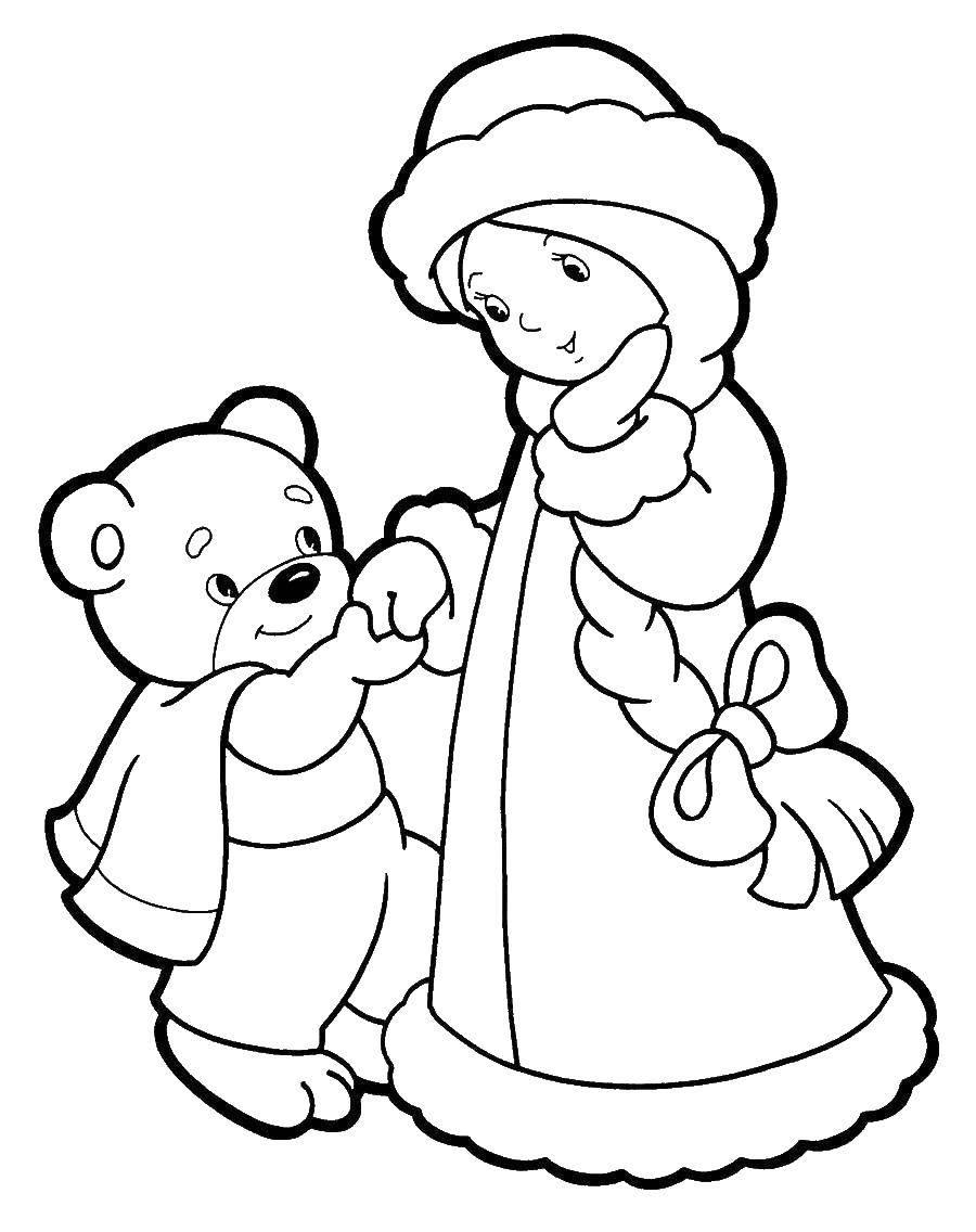 Раскраска снегурочка Скачать ,снегурочка, медведь,.  Распечатать