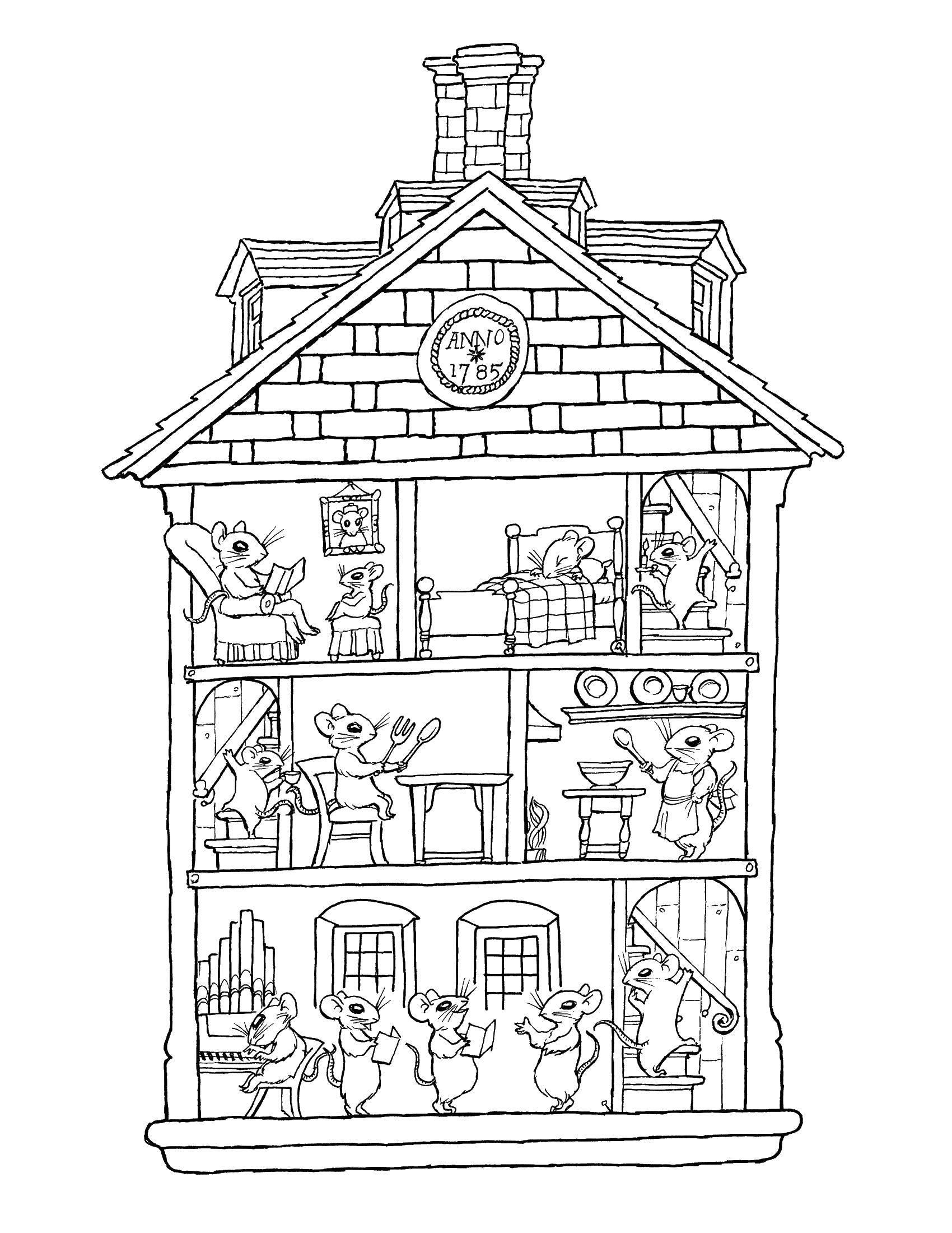 Раскраски домик, Раскраска Домик с леденцами Раскраски дом.