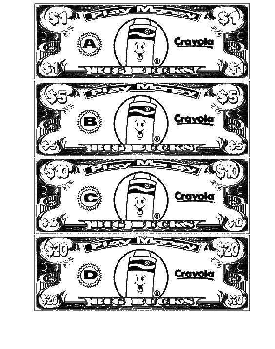 Раскраска деньги распечатать