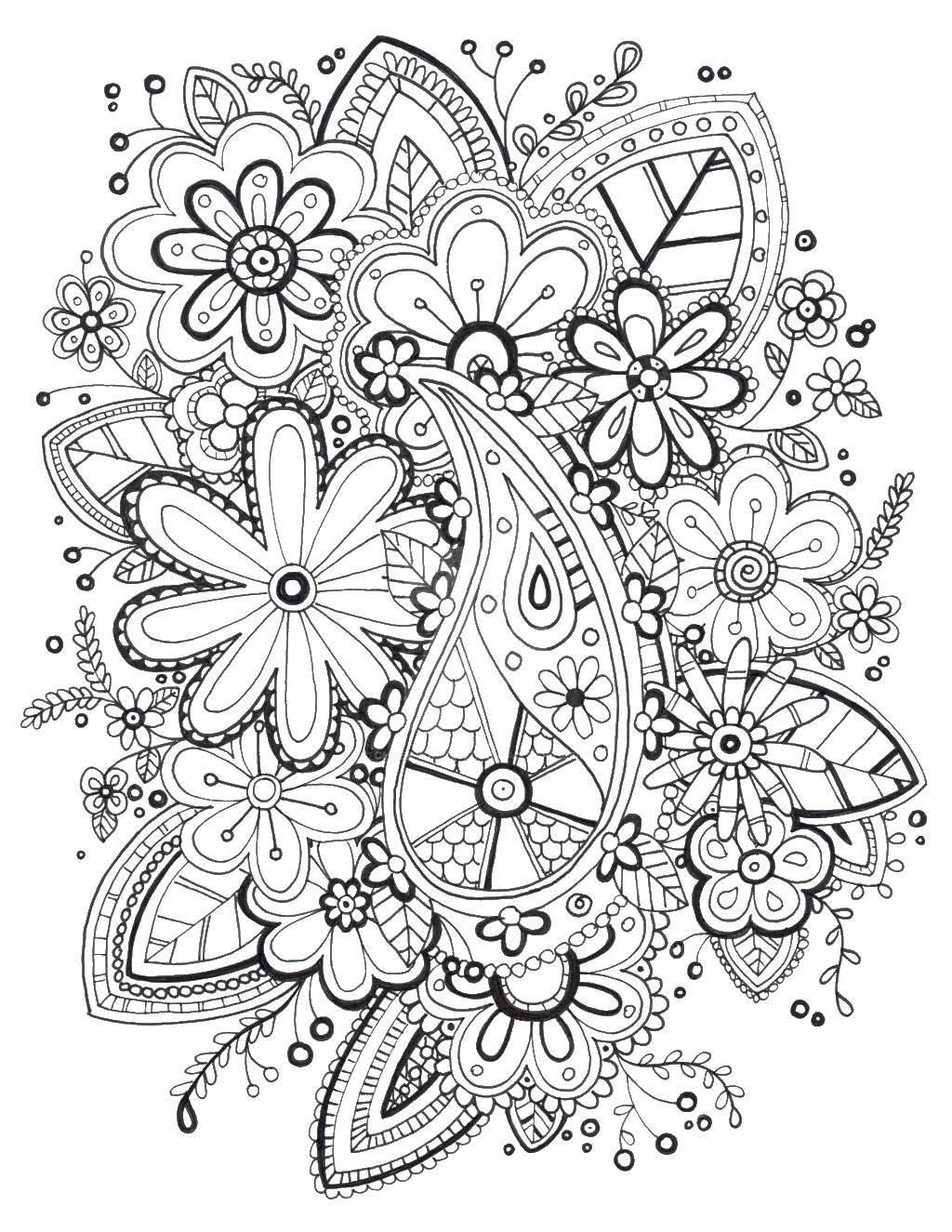 Раскраски листья, Раскраска Цветы и листья Антистресс.