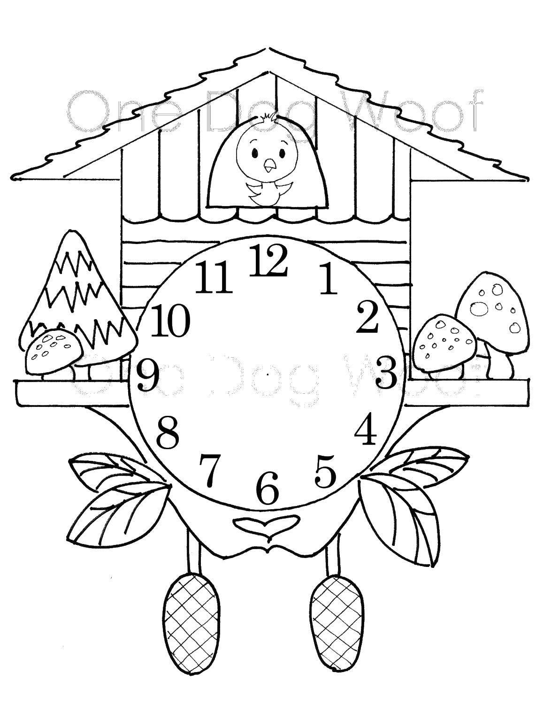 Раскраска Часы Скачать ,кукушка, часы,.  Распечатать