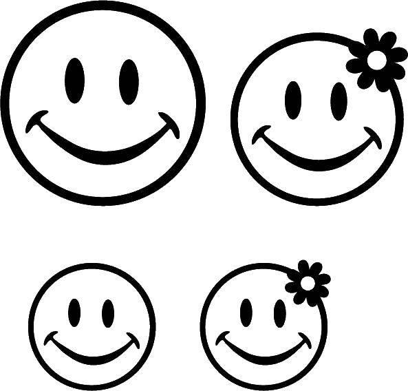 Смайлик улыбка раскраска четыре на одном листе то