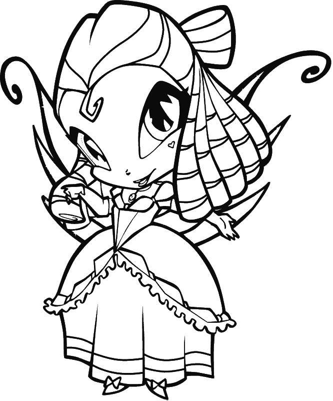 Coloring sheet Winx club Download Tom , game, cat, Angela.  Print ,coloring,