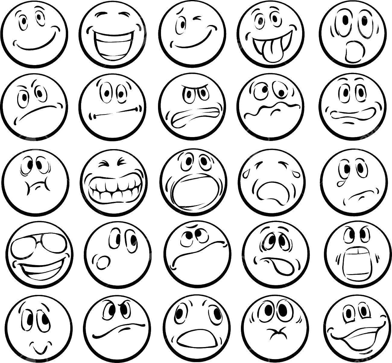 Coloring pages Emotions Скачать .  Распечатать