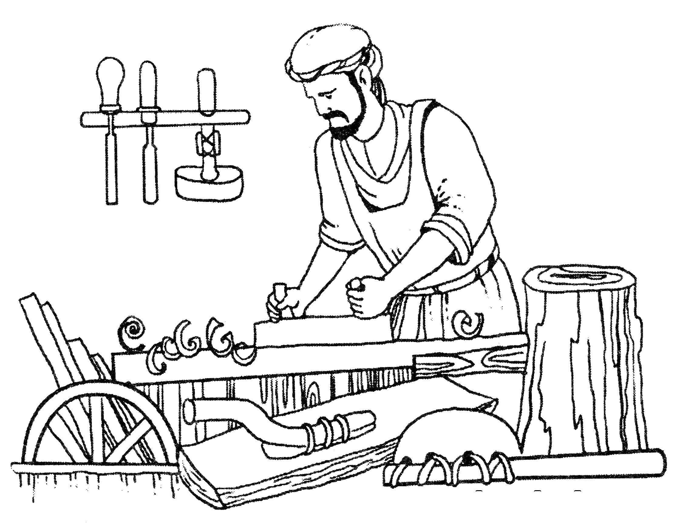 Coloring Craftsman wood Download profession, carpenter, craftsman,.  Print