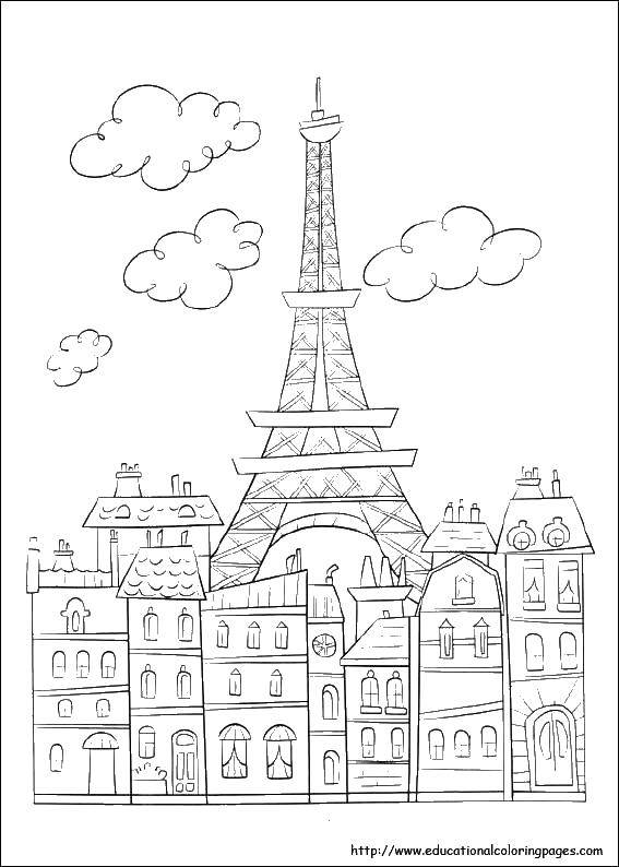Eiffel Tower Coloring Page (teacher made) | 794x567