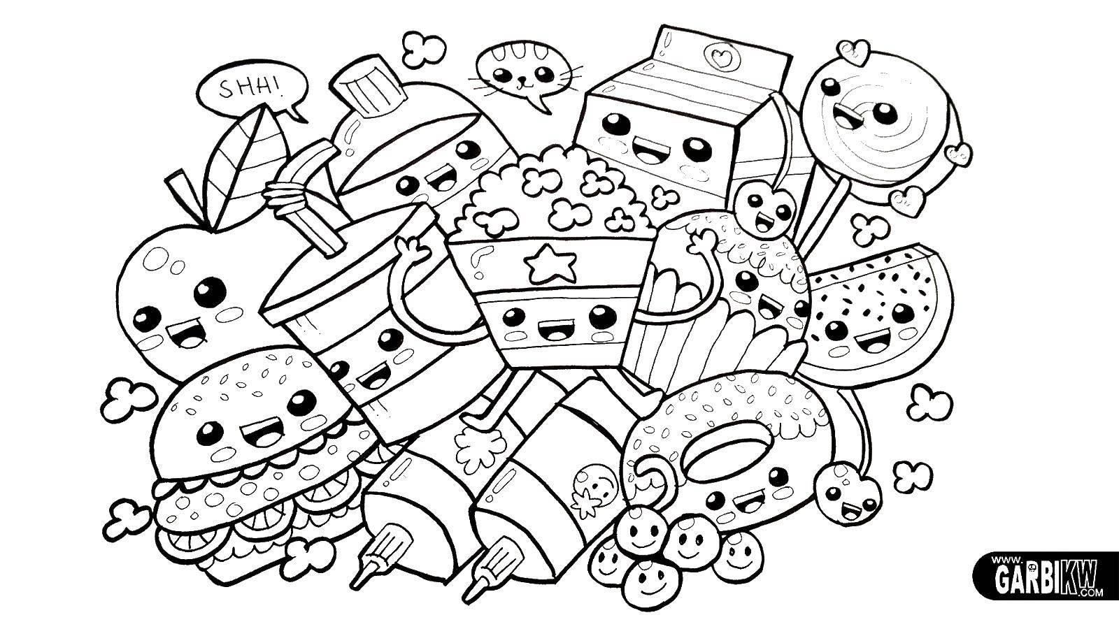 Раскраски шопкинс, Раскраска Шопкинс еда раскраски.