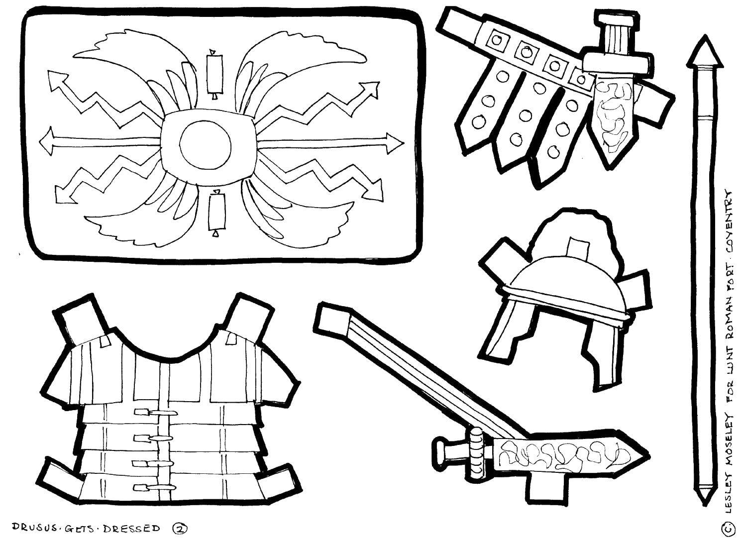 Coloring The clothing of the Gladiator Download ,gladiators, clothing,.  Print