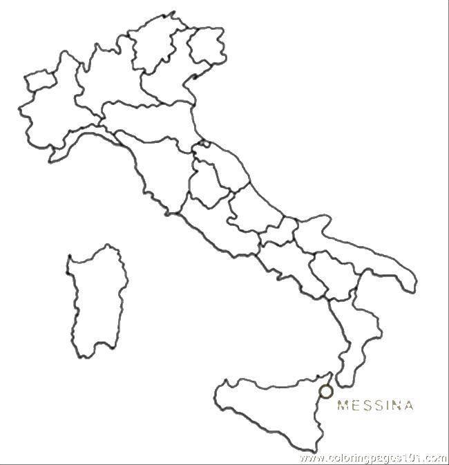 Раскраски Раскраска Италия Карты, скачать распечатать ...