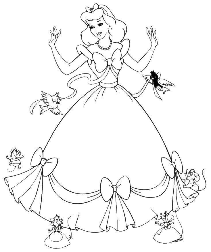 Coloring Cinderella with birds and mice Download Cinderella, birds, mouse,bows,.  Print