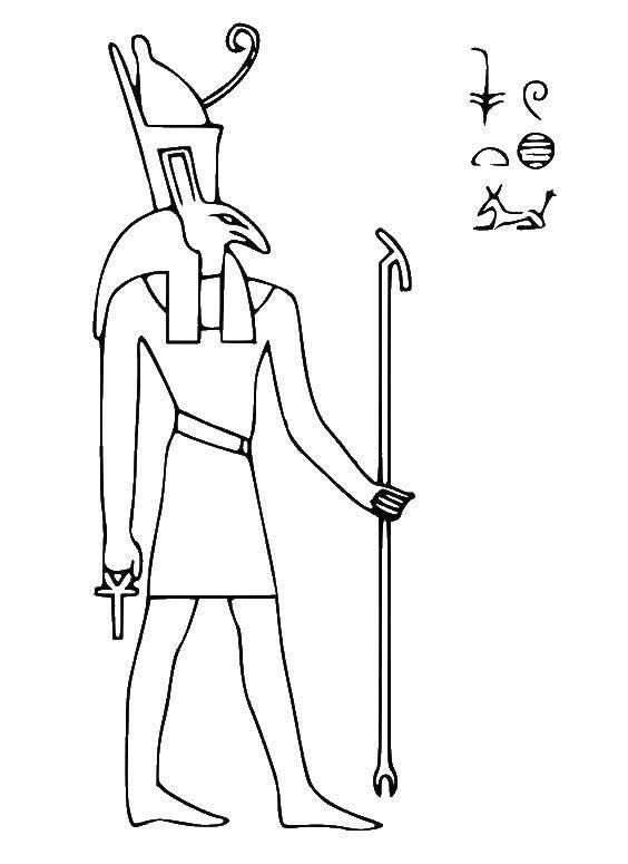 Название: Раскраска Хорус бог неба и солнце. Категория: египет. Теги: бог, египет, Хорус.