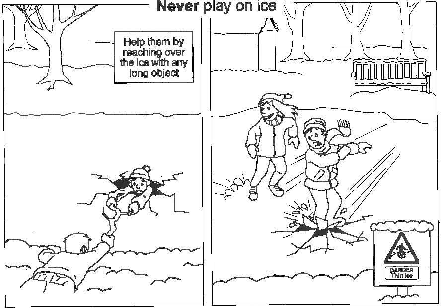осторожно на льду картинки раскраски