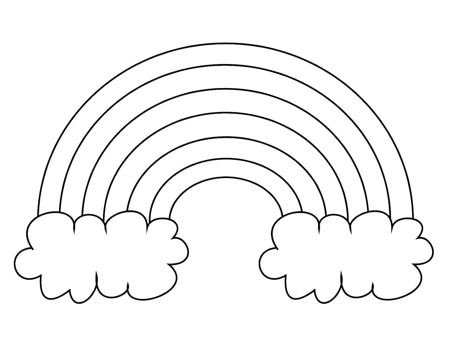 Раскраска Милая радуга Скачать ,Радуга, облака,.  Распечатать