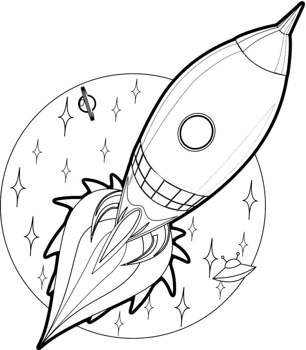 Coloring The stars and rocket Download Space, rocket, stars.  Print ,rockets,