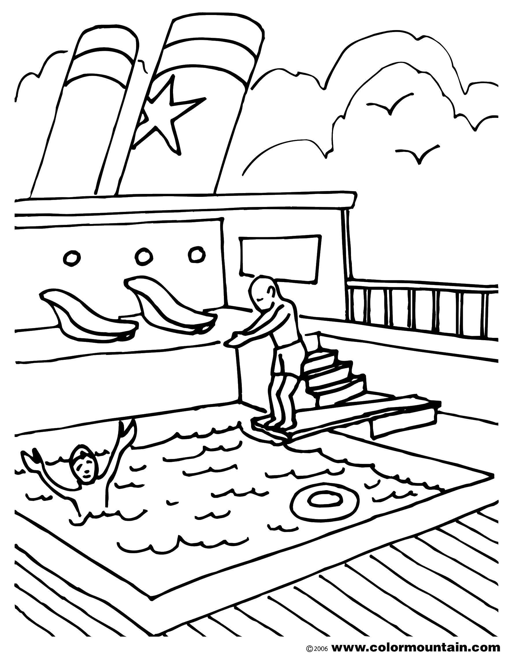 Название: Раскраска Бассейн на корабле. Категория: корабль. Теги: Корабль, вода.